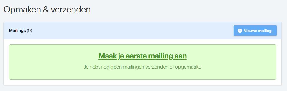 nieuwe mailing aanmaken