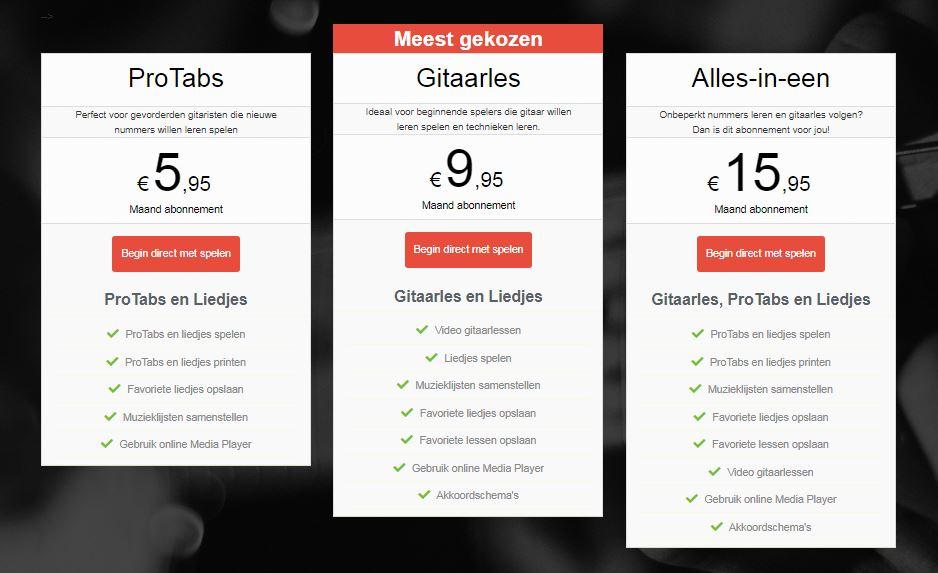 prijzen gitaartabs.nl